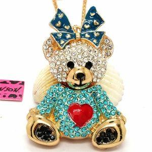 Blue Rhinestone Bow Lady Heart Necklace